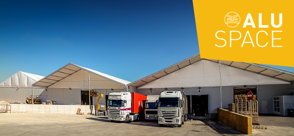 Removable industrial buildings for logistics spaces
