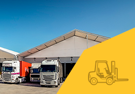 logistic spaces created with our removable industrial buildings