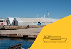 logistics spaces in port terminals with our relocatable indsutrial tents